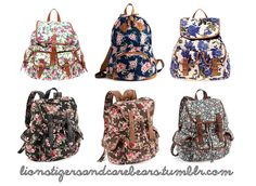 flower print backpacks