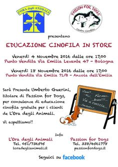 Cinofilia in store ad Anzola dell'Emilia con Passion for Dogs a L'Ora degli Animali :http://www.qualazampa.news/event/cinofilia-in-store-ad-anzola-dellemilia-con-passion-for-dogs-a-lora-degli-animali/
