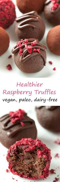 These healthier raspberry truffles only have four ingredients and are vegan, dairy-free, paleo-friendly and naturally grain-free and gluten-free. (Four Ingredients Recipes) Vegan Desserts, Delicious Desserts, Dessert Recipes, Dessert Ideas, Grain Free, Dairy Free, Lactose Free, Valentine Desserts, Low Carb Cheesecake