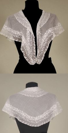 Embroidered pelerine, c 1830's, Sheer white cotton, edge decorated with whitework flowers and double row of Valenciennes bobbin lace, double collar, in gentle curve with front pendants.
