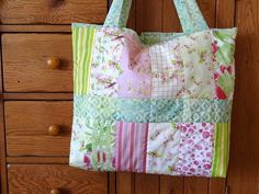 Quilted Tote Bag Pink Patchwork Flower Watercolor Art Fabric