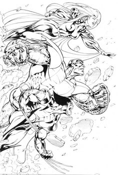 Wolverine, Storm and Colossus by Alan Davis