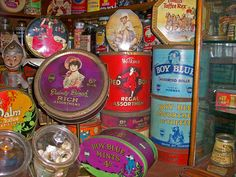 Vintage sweet tins: Boy Blue, Red Boy, Dainty Dinah.