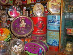 Vintage sweet tins: Boy Blue, Red Boy, Dainty Dinah.