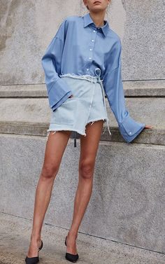 Bleu Jeremy Top by Sandy Liang for Preorder on Moda Operandi