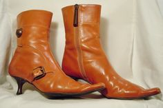 Escada / Vero Cuoio Saddle Brown Leather Pointed Toe Ankle Boots
