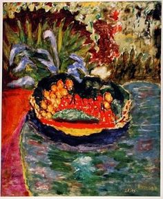 """BASKET of FRUIT on the TABLE Bonnard, Pierre Signed Lithograph Edition of 95. Approximate size is 13"""" x 13"""" Certificate of authenticity. Estimates : 8,000.00 - 9,500.00 http://www.zaidan.ca/Art_Gallery/Auctions/130508_Museum_Art_2.htm"""