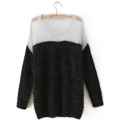 Winter Essential Black Paned Color Blocking Pullovers Sweater e943c4473
