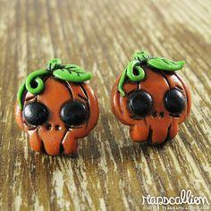 Halloween Jewelry  Skull Pumpkin Earrings by rapscalliondesign, $16.45