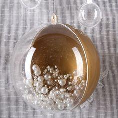 Kugel aus Kunststoff - halb Transparent halb Gold