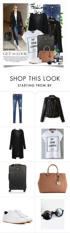 """""""Gigi Hadid - Celebrity Airport Style"""" by yexyka ❤ liked on Polyvore featuring Dolce&Gabbana, MICHAEL Michael Kors, NIKE, Sheinside, shein and celebairportstyle"""