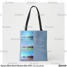 Square Blue Santa Monica Pier Collage Tote Bag Travel Souvenirs, Famous Landmarks, Edge Design, Amusement Park, Santa Monica, Collage, Tote Bag, Blue, Collages