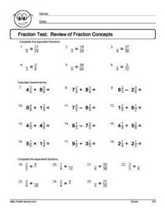 math worksheet : 9 worksheets on simplifying fractions for 6th graders  : Lowest Terms Fractions Worksheet