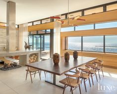 Light Brown Cypress-Paneled Modern Dining Area