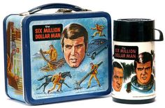 Double Whammy.... Six Million Dollar Man AND Metal Lunch Boxes and those Thermos's that had that school lunch smell forever stuck in them....