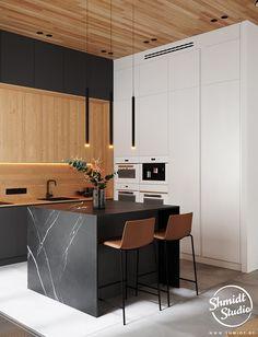 Gennady Shmidt on Behance Kitchen Room Design, Modern Kitchen Design, Home Decor Kitchen, Kitchen Interior, Home Kitchens, Office Interior Design, Interior Design Inspiration, Interior Design Living Room, Cuisines Design