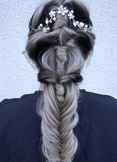 Granny Silver/ Grey Hair Color Ideas: Gradient Granny Braided Hair
