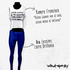 Remera Francisca Good Girls - Bad Girls New Legging Lycra Brillante Blue