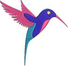 Colorful Hummingbird Machine Embroidery Design Bird Embroidery Design Humming Bird