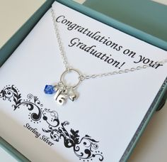 Graduation necklace 2016 graduation gift high by MarciaHDesigns Graduation Necklace, Graduation Gifts, Handcrafted Jewelry, Unique Jewelry, Gifts For Girls, Sterling Silver Necklaces, Tassel Necklace, Jewelry Gifts, College