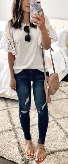 summer  outfits white floral blouse and distressed blue denim jeans  outfit. Casual Summer 284559e878ca