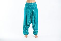 "Hill Tribe Elephants Harem Pants.Elasticated back waist can stretch to fit most sizes. Measurement:  Waist: 26"" - 36"" Length: 41""  Free International shipping for orders over $60"