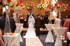 romantic candlelit fall flowers wedding ceremony decor at The Columns Memphis design by Southern Event Planners