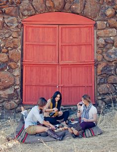 Wine, bread and cheese picnic - If you're looking for a simple picnic idea – you can't go wrong with just packing some bread, wine, and cheese to share and catch-up with friends.