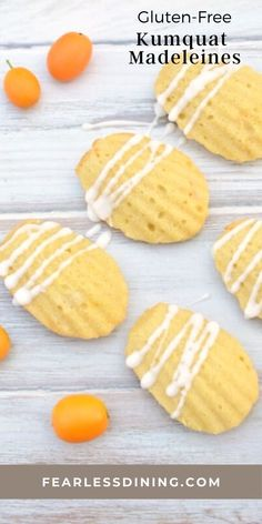 These delicious citrus gluten free madeleine cookies are a great way to use fresh kumquats. Light and fluffy, these cake like cookies are a wonderful gluten free dessert or snack. fearlessdining Gluten Free Cookie Recipes, Gluten Free Cookies, Gluten Free Desserts, Healty Dinner, Gluten Free Dinner, Gluten Free Breakfasts, Dinner Recipes, Cooking Recipes