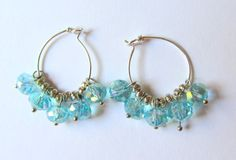 Silver Hoop Earrings with Blue Glass Beads by CereusArt