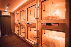 """Japanese capsule hotel. Even though it might be more aptly named a """"coffin hotel,"""" I really want to try this out."""