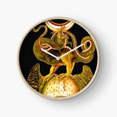 'Dragon tshirt - fire breathing - man eating - a beastie - groteskology' Clock by Canvas Prints, Art Prints, Quartz Clock Mechanism, Modern Prints, Hand Coloring, Clocks, Duvet Covers, My Arts, Dragon