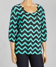 Look at this Star Vixen Jade Chevron Three-Quarter Sleeve Top & Necklace - Plus on #zulily today!