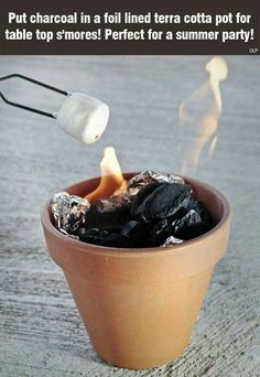 Summer Hacks Put charcoal in a foil lined terra cotta pot for table top s'mores! The post Summer Hacks appeared first on Summer Ideas. Summer Parties, Summer Fun, Summer Time, Summer Ideas, Summer Garden, Summer Picnic, Beach Picnic, Summer Nights, Picnic Parties