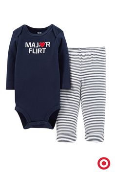 Your baby boy is already a major flirt. So make it official for Valentine's Day with this darling bodysuit and pull-on pants set from Just One You made by Carter's. He's sure to inspire love at first sight.