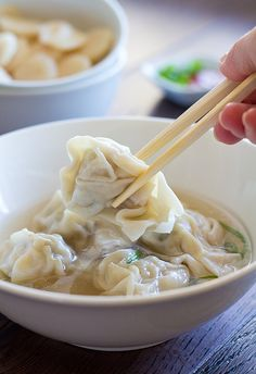 Homemade Wonton Soup | canuckcuisine.com by CanuckCuisine, via Flickr but I sub tofu for the prawns.