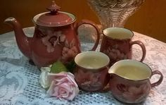 Lovely vintage Denby deep rose pink floral teapot with 2 milk jugs & sugar bowl