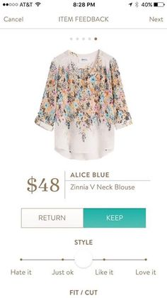 Alice Blue Zinnia - my favorite style of top and I love the colors and pattern for spring or summer