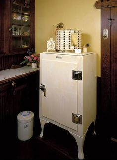 GE Monitor Top Refrigerator, 1927. Notice the tiny Monitor salt and pepper and clock on top, too?