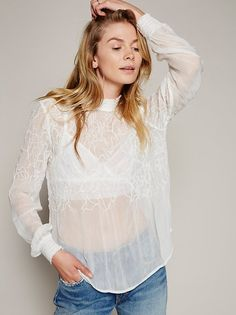 Lucky Cloud Top | Long sleeve sheer top with an ultra lightweight and crinkly…