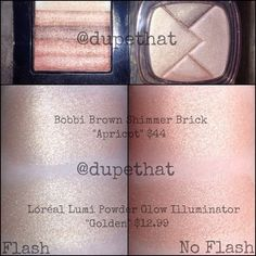 "Dupe number two found within @lorealparisusa Lumi Powder Glow Illuminators! ""Golden"" is about 1/100th of a shade less peachy, but almost IDENTICAL to the Bobbi Brown Shimmer Brick in ""Apricot."" With that price difference, you can't NOT buy it.  Lets see YOUR dupes! Tag them with #dupethat or shoot us a DM for a chance to be featured!"