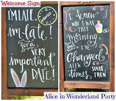 Alice in Wonderland Birthday Party, birthday party decor, birthday party DIYs, birthday party ideas, theme birthday party, games, food, decor, welcome sign, chalkboard sign