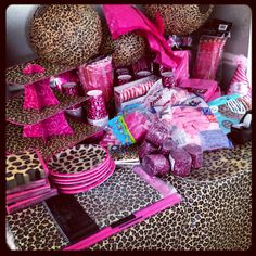 Hot pink and leopard print 1st birthday - I want to know where to find all this!!