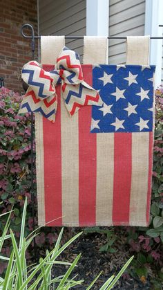 Patriotic Burlap garden flag  Stars and stripes on Etsy, $16.50