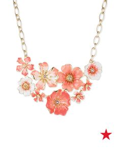 Pair this beautiful bouquet necklace with a brightly colored frock for a sunny, springtime look. A yellow fit-and-flare dress and pink pumps would be a perfect combination.
