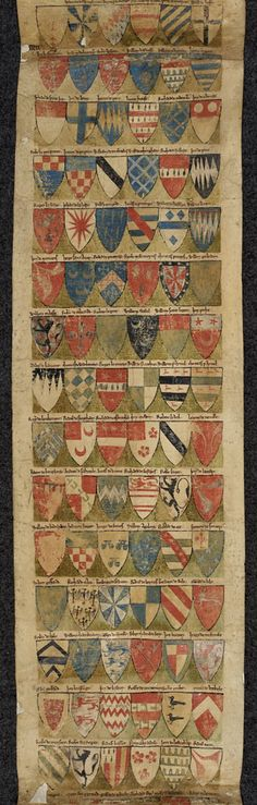 Dering Roll, c. 1270-1280.  The Dering Roll is the oldest English roll of arms surviving in its original form. It was made between 1270 and 1280 and contains the coat of arms of 324 knights, starting with two illegitimate children of King John.
