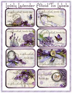 Lovely Lavender Altoid Tin Cottage Chic Set of 8 Labels -- would be pretty PL cards, too. Vintage Labels, Vintage Cards, Vintage Paper, Vintage Images, Printable Labels, Printable Paper, Printables, Labels Free, Altered Tins