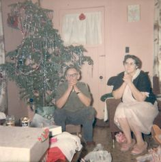My Grandparents in the 60's and their Christmas tree.