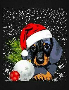 Christmas Scenes, Noel Christmas, Christmas Animals, Christmas Pictures, Vintage Christmas, Christmas Drawing, Christmas Paintings, Illustration Noel, Dachshund Art