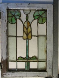 Antique Art Nouveau Leaf Stained Glass Window Salvaged Wood Frame